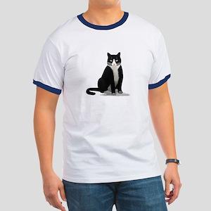Black and White Tuxedo Cat Ringer T