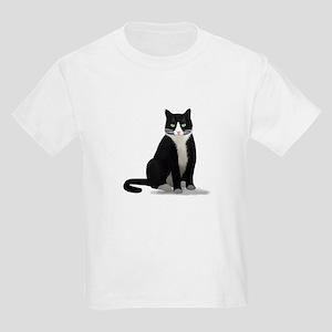 Black and White Tuxedo Cat Kids Light T-Shirt