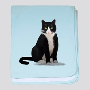Black and White Tuxedo Cat baby blanket