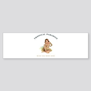 Tropical Paradise Island Girl 1 Sticker (Bumper)