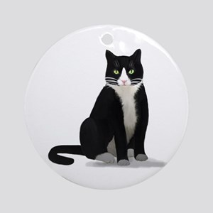 Black and White Tuxedo Cat Ornament (Round)