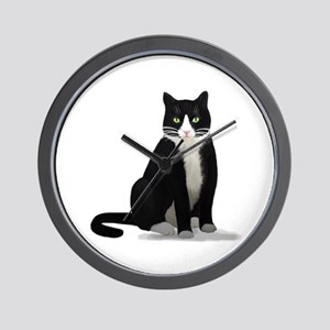 Black and White Tuxedo Cat Wall Clock