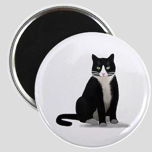 Black and White Tuxedo Cat Magnet