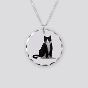 Black and White Tuxedo Cat Necklace Circle Charm