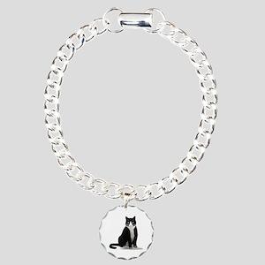 Black and White Tuxedo Cat Charm Bracelet, One Cha