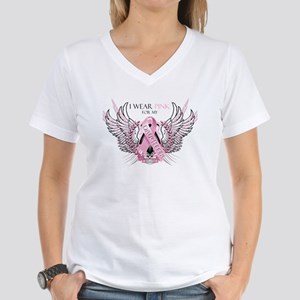 I Wear Pink for my Daughter Women's V-Neck T-Shirt