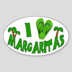 I love Margaritas Sticker (Oval)