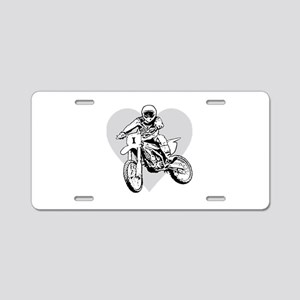 """I love dirt biking"" Aluminum License Plate"