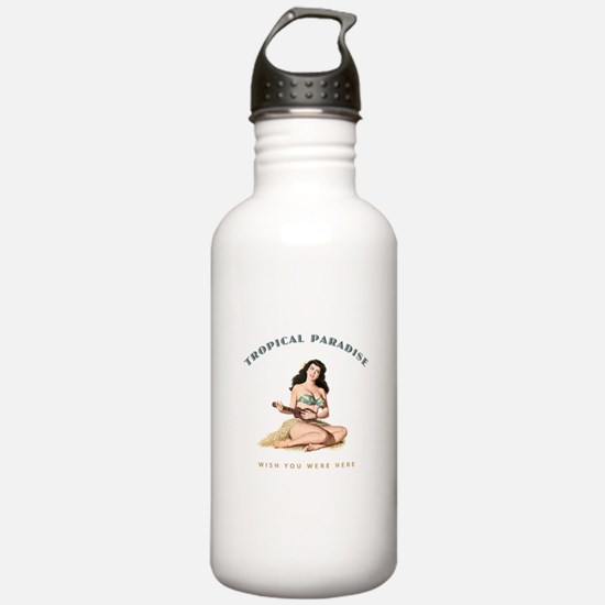 Tropical Paradise Island Girl Sports Water Bottle