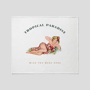 Tropical Paradise Island Girl Throw Blanket