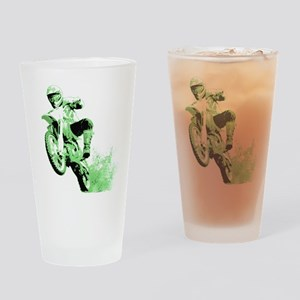 Green Dirtbike Wheeling in Mud Drinking Glass