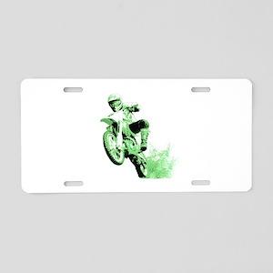 Green Dirtbike Wheeling in Mud Aluminum License Pl