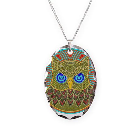 Vintage Owl Mandala Necklace Oval Charm