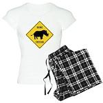 Rhino Crossing Sign Women's Light Pajamas