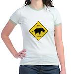 Rhino Crossing Sign Jr. Ringer T-Shirt