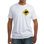 Rhino Crossing Sign Fitted T-Shirt