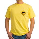 Rhino Crossing Sign Yellow T-Shirt