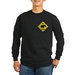Rhino Crossing Sign Long Sleeve Dark T-Shirt