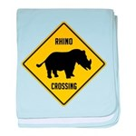 Rhino Crossing Sign baby blanket