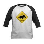 Rhino Crossing Sign Kids Baseball Jersey