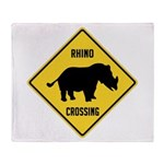 Rhino Crossing Sign Throw Blanket