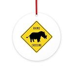Rhino Crossing Sign Ornament (Round)