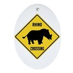 Rhino Crossing Sign Ornament (Oval)