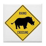 Rhino Crossing Sign Tile Coaster