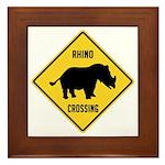 Rhino Crossing Sign Framed Tile