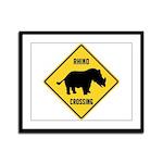 Rhino Crossing Sign Framed Panel Print