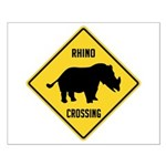 Rhino Crossing Sign Small Poster