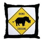 Rhino Crossing Sign Throw Pillow