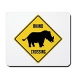 Rhino Crossing Sign Mousepad