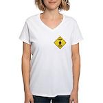 Penguin Crossing Sign Women's V-Neck T-Shirt