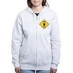 Penguin Crossing Sign Women's Zip Hoodie