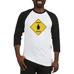 Penguin Crossing Sign Baseball Jersey