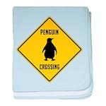 Penguin Crossing Sign baby blanket
