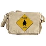 Penguin Crossing Sign Messenger Bag