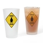 Penguin Crossing Sign Drinking Glass