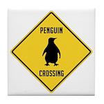 Penguin Crossing Sign Tile Coaster