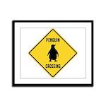 Penguin Crossing Sign Framed Panel Print
