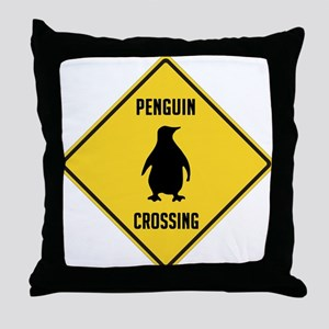 Penguin Crossing Sign Throw Pillow