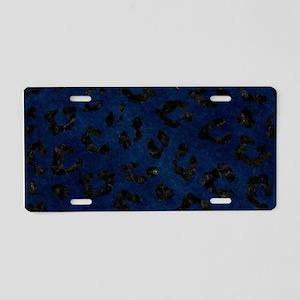 SKIN5 BLACK MARBLE & BLUE G Aluminum License Plate