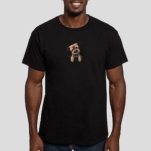 Pocket Border Terrier Men's Fitted T-Shirt (dark)