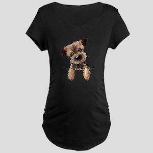 Pocket Border Terrier Maternity Dark T-Shirt