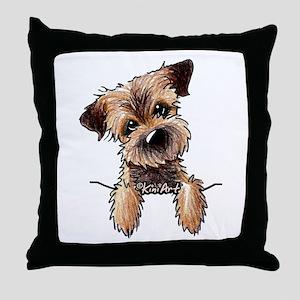 Pocket Border Terrier Throw Pillow