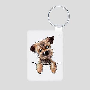 Pocket Border Terrier Aluminum Photo Keychain