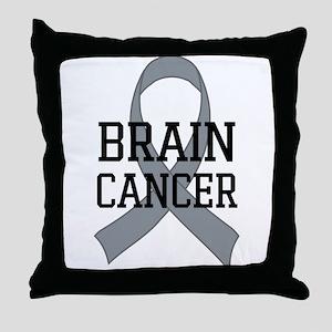 Brain Cancer Gray Ribbon Throw Pillow