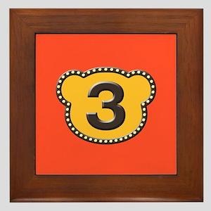 Bear Head Number 3 three Framed Tile