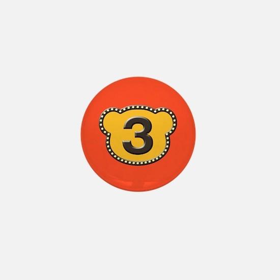 Bear Head Number 3 three Mini Button